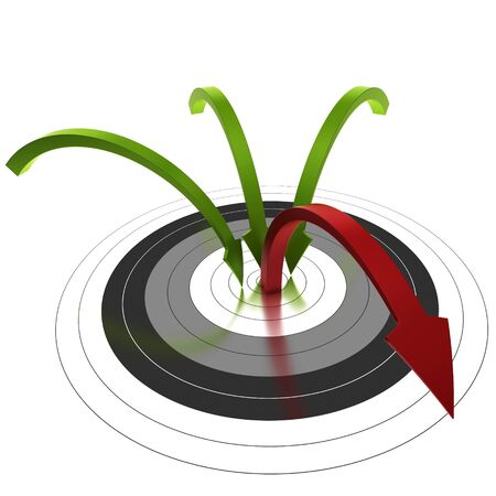 bounce: three green arrow reaching the center of a target and one bouncing out of the center, symbol of bounce rate Stock Photo