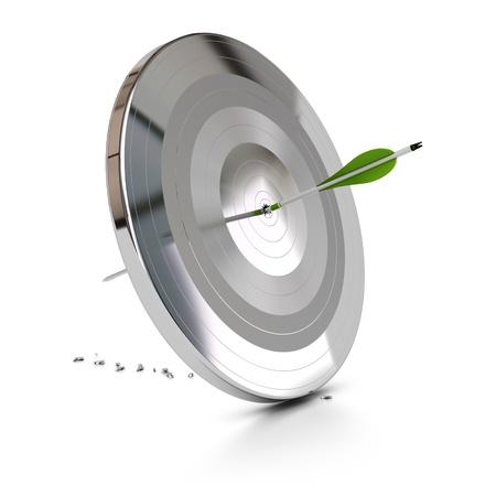 durchstechen: ein gr�ner Pfeil durchbohren ein Metall-Ziel auf wei�em Hintergrund, das Symbol der �berwindung von Schwierigkeiten
