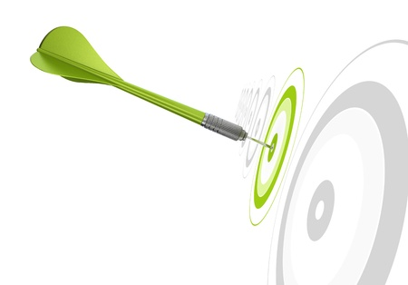 archery target: green dart hitting the center of a target, there is othr greys targets in a row, white background