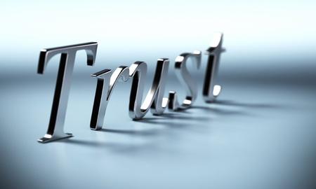metalen vertrouwen woord 3d render met perspectief en vervaging effet, blauwe achtergrond met schaduw