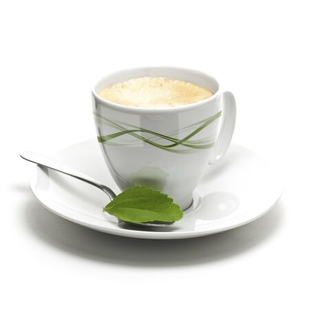 stevia plant and coffee cup, decorative background for right border of a page photo