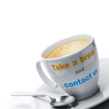 take a break and contact us written on a coffee cup, right border, text with orange and blue colors, there is a spoon, white background Фото со стока