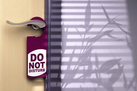 hotel room door: Door handler where its written do not disturb hanged onto a handle color tone is purple there is a wooden door on the left side and room for text at the right side