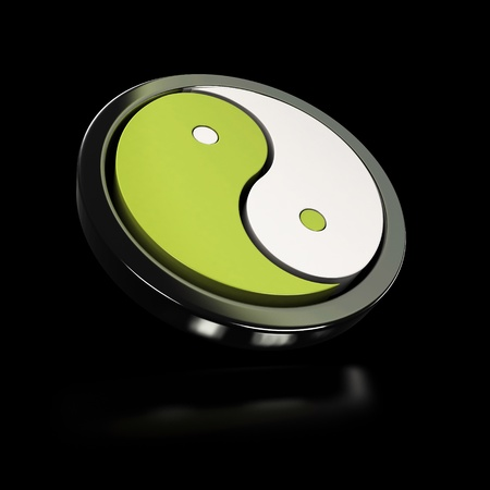interdependent: green and white yin yang symbol over black background with reflection