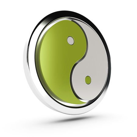 interdependent: green and white yin yang symbol over white background with shadow