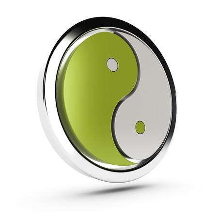 interconnected: verde y blanco, yin yang s�mbolo sobre fondo blanco con la sombra Foto de archivo