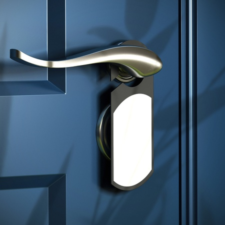 door handle: home entrance, handle and grey door hanger, blue door, modern design  Stock Photo