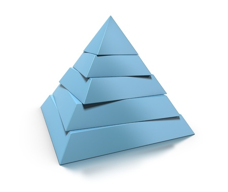 layers levels: 3d pyramid, five levels over white background with glossy reflection and shadow