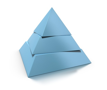 3d pyramid, three levels over white background with glossy reflection and shadow photo