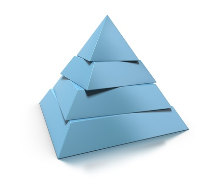 hierarchy: 3d pyramid, four levels over white background with glossy reflection and shadow Stock Photo