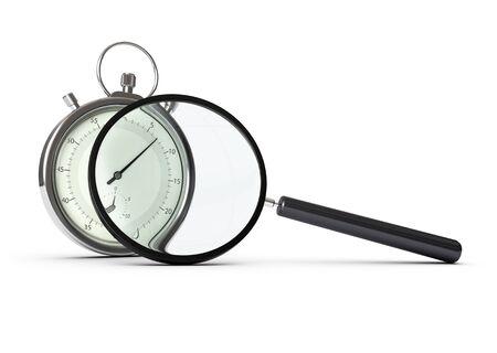 competitividad: cronómetro y la lupa sobre fondo blanco, el concepto de análisis de rendimiento