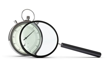 timing: stopwatch and magnifying glass over white background, concept of performance analysis
