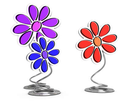 3d flower: 3d render of decorative flowers and wire pedestal over white background, decorative elements Stock Photo