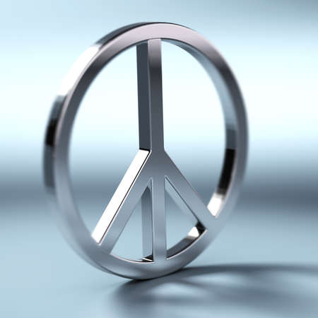 Peace and love symbol over a blue background with blur effect and shadow photo