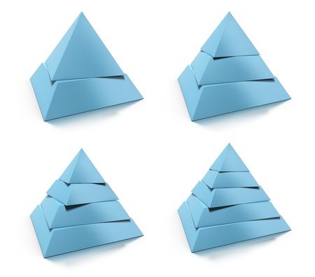 3d abstract pyramid set, two, three, four, five levels, blue tone over white background, design elements with reflection Stock Photo