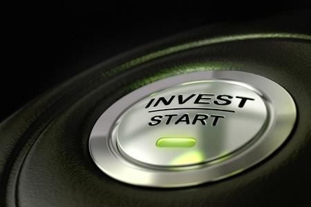begining: abstract investire pulsante di avvio, materiale metallico, di colore verde e nero con texture di sfondo sul fuoco la parola d'ordine e l'effetto blur concetto di investimento