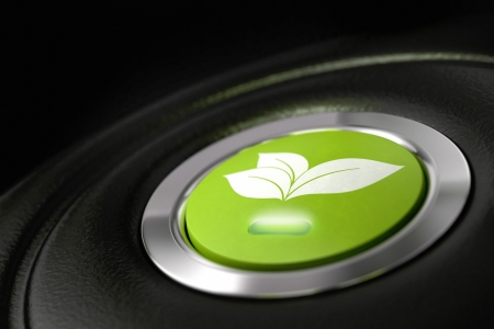 electric automobile: green eco friendly car button with leaves pictogram, and light symbol of fuel economy Stock Photo