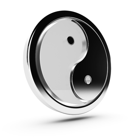 yin yang modern 3d symbol with one part made in glass and the other one made in metal, with a metallic circular border arond it, white background and shadow  Stock Photo - 13624951