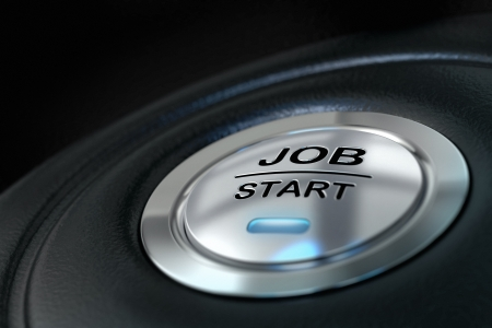 find a job: abstract job start button, metal material, blue color and black textured background  Focus on the main word and blur effect  Job concept