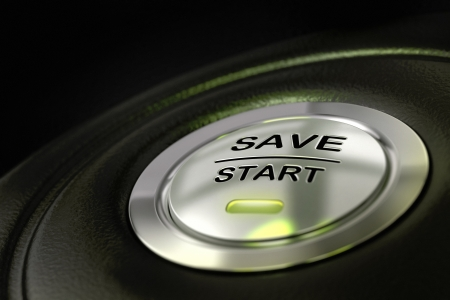 abstract save start button, metal material, green color and black textured background  Focus on the main word and blur effect  saving money concept  photo