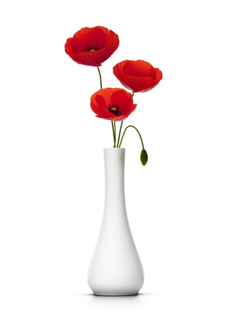 three cut poppies into a vase, white background, decor element photo