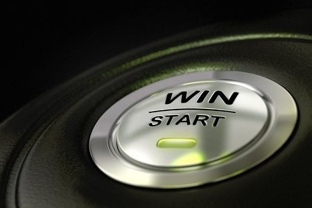 abstract win start button, metal material, green color and black textured background  Focus on the main word and blur effect  winning concept Stock Photo - 13865231