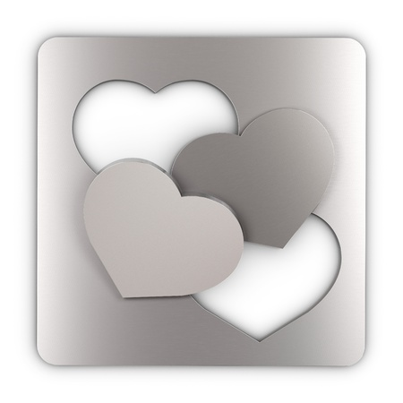 two heart cut into a sheet metal and and laid one over the other, square image  concept of love photo