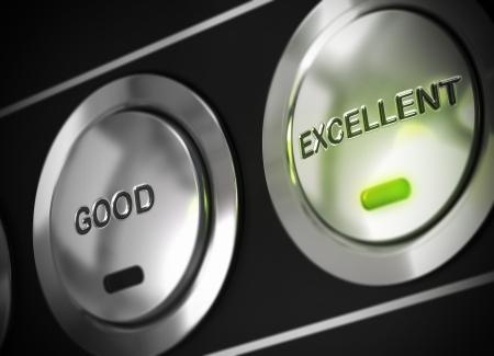 evaluacion: excelente botón de pulsado con la luz de un LED de color verde, también hay un botón de buena visible, el símbolo de la excelencia Foto de archivo