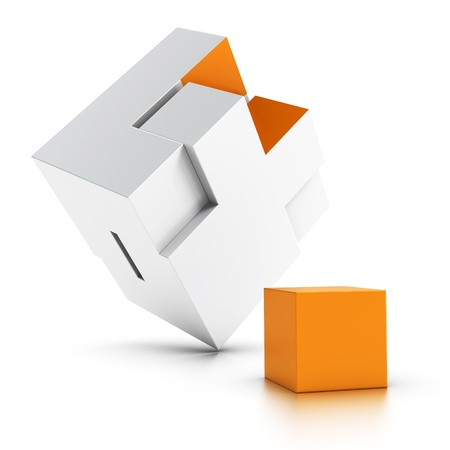 solving: 3d puzzle with an orange missing part over white background, symbol of intergration Stock Photo