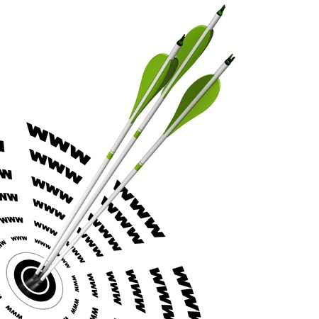 trois flèches vertes frapper le centre d'une cible où il est écrit www, symbole de l'optimisation des moteurs de recherche bien