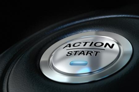 geduwd actie start knop op een zwarte achtergrond, blauw licht, motivatie begrip