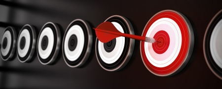 selecting: many targets over a black background with reflection, a red dart hit the center of one red target, horizontal banner style
