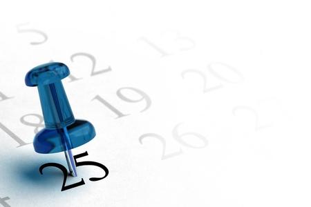 ordre du jour et punaise bleue avec le numéro 25 dans la couleur noire les autres numéros sont gris, élément blanc design fond pour le coin gauche de la page