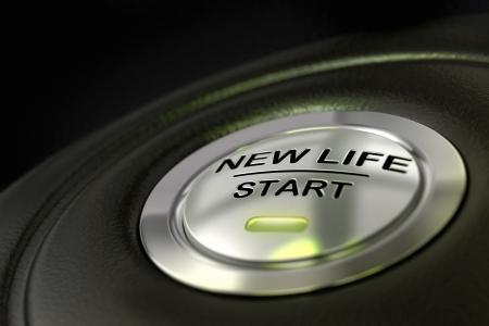 empujó nueva vida botón de inicio sobre fondo negro, azul claro, el cambio de concepto de vida