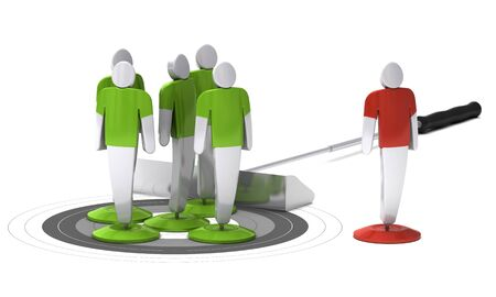 green 3d characters onto a grey target and one red character outside of the target, white background photo