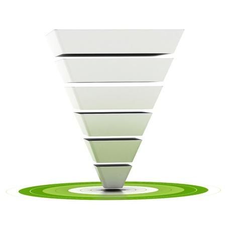 pyramide humaine: entonnoir de ventes en six �tapes facilement personnalisables pointant vers une cible verte, peut �tre utilis� comme un entonnoir marketing, sch�ma sur fond blanc Banque d'images
