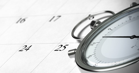 close up of a stopwatch onto a schedule with focus on the numbers 24 and 25, symbol of time management, blur effect Stock Photo - 14063986