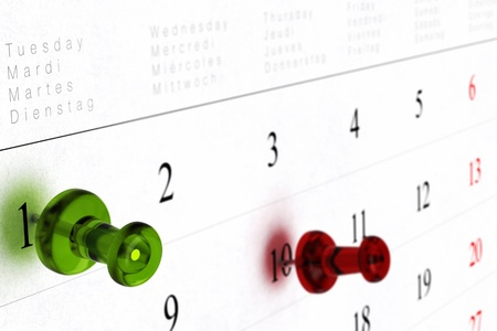weekly calendar with green thumbtack pointed on number one, and red pushpin pointing on number ten, blur effect and perspective view