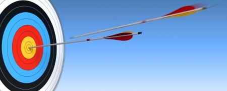 competitividad: tiro con arco, el objetivo y la flecha sobre el cielo de fondo azul con una flecha en la acci�n y la otra que han llegar al centro