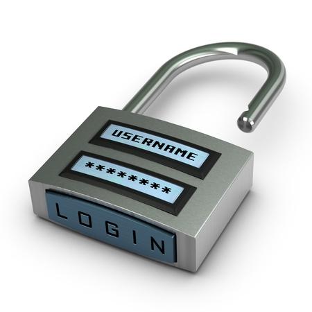 lösenord: digital hänglås med användarnamn och lösenord plus inloggning knapp öppnas över vit bakgrund med skugga Stockfoto