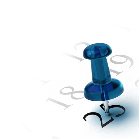 expiration date: blue thumbtack on the number 25, design element for a corner of a page, white background Stock Photo