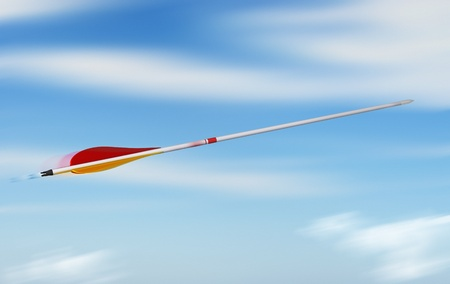 rapidity: arrow throwing into the blue sky sith speed effect, concept of rapidity
