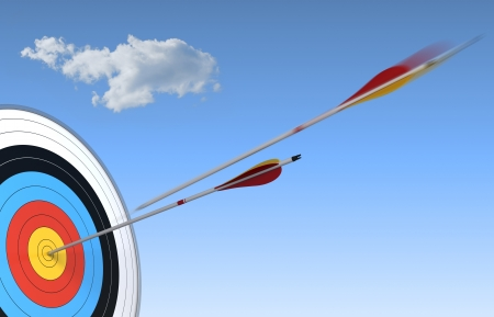 rapid: archery, target and arrow over blue sky background with one arrow in action and the other one who have reach the center Stock Photo