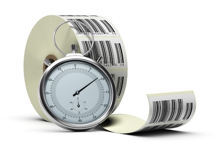 bobbin: barcode stickers bobbin over white background with one stopwatch Stock Photo