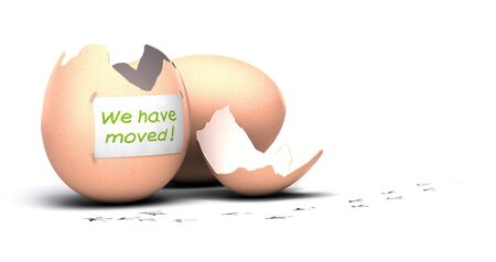 relocate: one open egg with a paper sign where it is written we have moved plus bird print on the floor, white background concept of moving