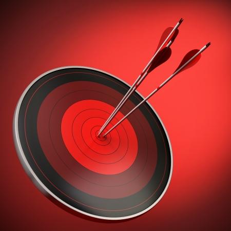 장점: 황소 타격 세 화살표와 빨간색 대상 스톡 사진