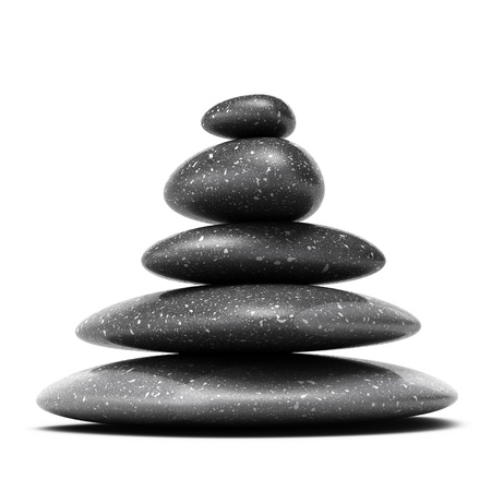 stacked up: stones pyramid with five black pebbles over white background