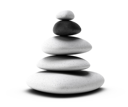 stacked up: stones pyramid with four white pebbles plus one black pebble over white background