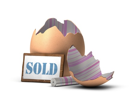 real estate sign: egg shell decorated with a pink and blue tapestry with a wooden sign where it