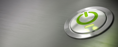computer power button, pc on off switch with green light and led, horizontal banner, blur effect  photo